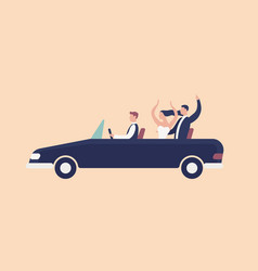 Funny newlyweds riding in cabriolet car with vector