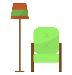 Furniture and decor for home armchair and lamp vector