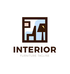 furniture interior logo with chair and old lamp vector image