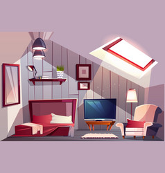 guest bedroom on attic cartoon interior vector image