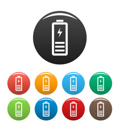 Half battery energy icons set color vector