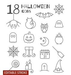 Halloween linear icons set with editable stroke vector image
