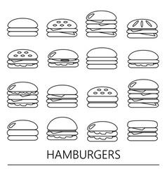 Hamburgers types fast food modern simple outline vector