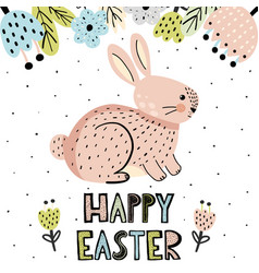 happy easter greeting card with a cute bunny vector image