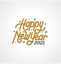 Happy new year 2021 with lettering typography vector