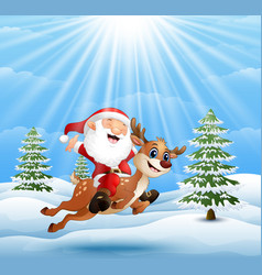 happy santa claus riding a reindeer on snow downhi vector image