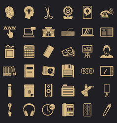 Hard copy icons set simple style vector