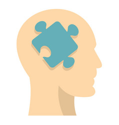 head silhouette with jigsaw puzzle icon isolated vector image
