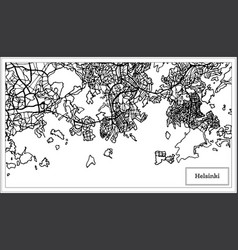 helsinki finland city map in black and white color vector image
