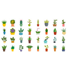 Houseplants icons set flat style vector