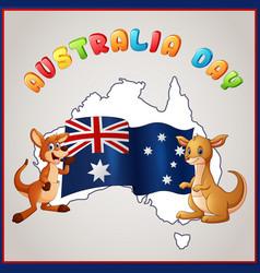 Kangaroos and australian flag for australia day em vector
