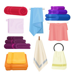 Kitchen and bathroom towels isolated set vector