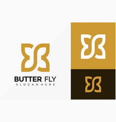 Letter b butterfly creative logo design abstract vector