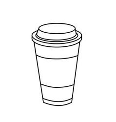 Line tasty coffee drink beverage vector