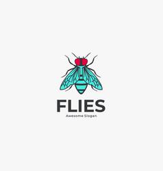 Logo flies line art style vector