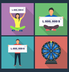 lottery design concept set with winning vector image