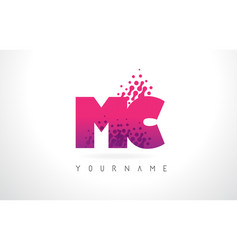 mc m c letter logo with pink purple color and vector image