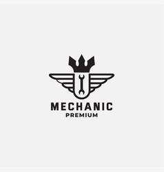 Mechanic king with wing crown logo design vector