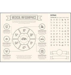 Medical Line Design Infographic Template vector image