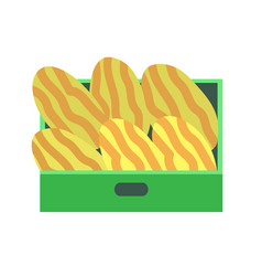 melon in plastic containers on seller counter vector image