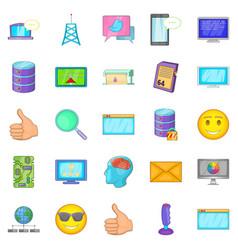 Memory array icons set cartoon style vector
