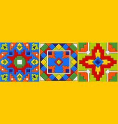 mexican talavera ceramic tile pattern vector image