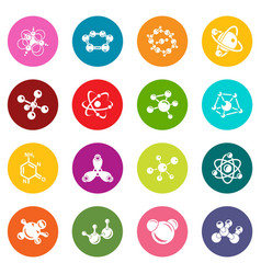 molecule icons set colorful circles vector image