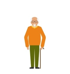 Old Disabled Man with Stick Crutch vector image