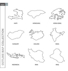 Outline maps collection nine black lined map vector