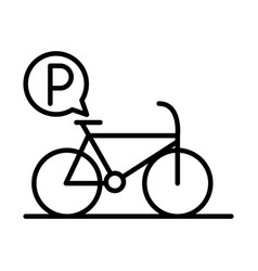 Parking bicycle traffic sign transport line style vector