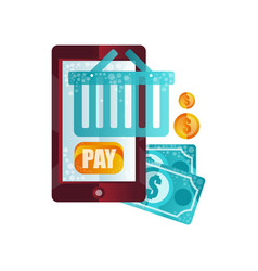 payment for purchases with online payment via vector image