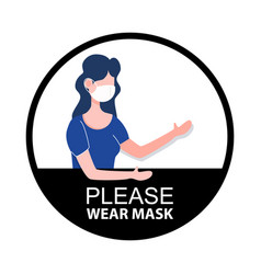 please wear mask sign new normal social vector image