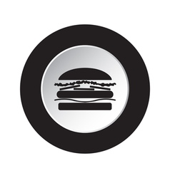 round black and white button - hamburger icon vector image