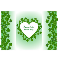 saint patricks day background heart shape frame vector image