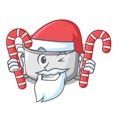 Santa with candy cartoon homemade stew soup in the vector