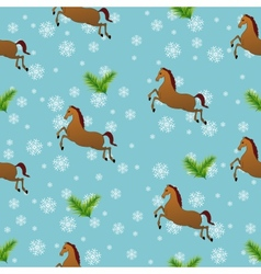 Seamless Christmas pattern with horses vector image