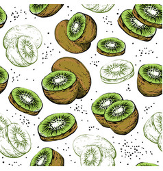 seamless pattern with fresh kiwi fruit vector image