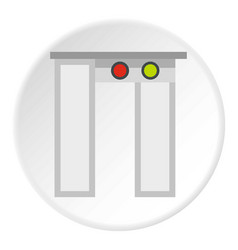 Security gates with metal detector icon circle vector