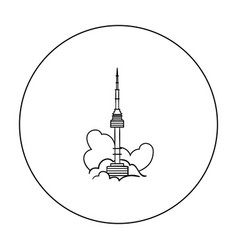 seoul tower icon in outline style isolated on vector image
