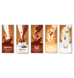 Set labels with cappuccino coffee milk vector