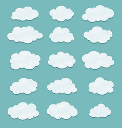 set of lined drawing clouds vector image