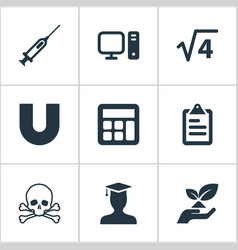 set of simple study icons vector image
