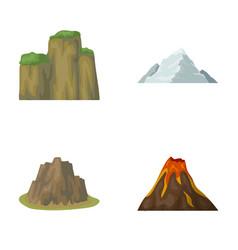 Sheer cliffs a volcanic eruption a mountain with vector