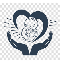 Silhouette icon of the birth of a child vector