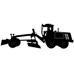 Silhouette of a heavy road grader vector image