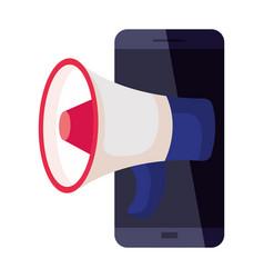 Smartphone with megaphone design vector