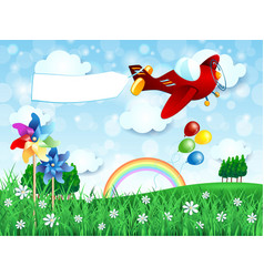 spring landscape with airplane and banner vector image