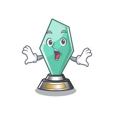 Surprised acrylic trophy mascot on a cartoon vector