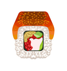 sushi roll with smoked eel topped traditional vector image vector image