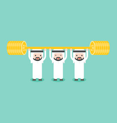 Team of arab businessman weightlifting golds vector